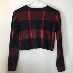 Atmosphere Cropped Plaid Sweater Size Small